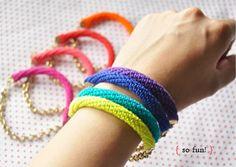 crochet tube bracelets :)