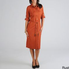 @Overstock - This women's shirt collar dress from Sharagano features roll up 3/4-length sleeves with buckle details and multiple pockets. A button front with rope belt pulls this slit front shirt dress together.http://www.overstock.com/Clothing-Shoes/Sharagano-Womens-Shirt-Dress-with-Rope-Belt/7263861/product.html?CID=214117 CAD              65.85
