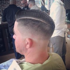 Photo by tizzthebarber  Very clean razor part with razor fade