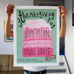 Handmade Screenprint: Thanksgiving Pies, Limited edition print.