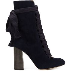 Chloé Lace-Up Boots (€1.100) ❤ liked on Polyvore featuring shoes, boots, ankle booties, ankle boot, booties, blue, lace up ankle boots, blue suede boots, blue booties and laced up ankle boots