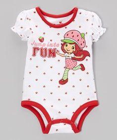 White & Red Strawberry Shortcake Bodysuit - Infant