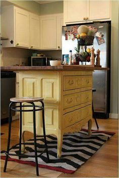 Convert a dresser into a beautiful kitchen island.                                                                                                                                                                                 More