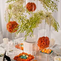 Hanging Pomander Centerpieces, switch out the crystals for pearl strands