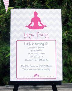 Yoga birthday party invitation printable yoga by idocaredesigns yoga party ideas google search stopboris Gallery