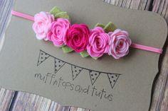 felt flower garland headband Pink ombre by muffintopsandtutus
