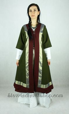 SALE! Early Medieval coat with silk hems SIZE S/M, for woman, Viking coat  form Birka, Historical Pattern ,Viking Costume