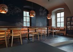 concrete floors, natural elements & chalk board paint. I think that would be an interesting concept for a cafeteria.