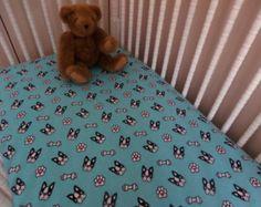 boston terrier crib sheet set