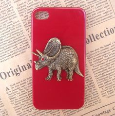 Steampunk Dinosaur Red hard case For Apple iPhone 4 case iPhone 4s case cover. $14.99, via Etsy.