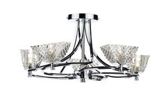 MAE0550 Maestro 5 Light Semi Flush in Polished Chrome Faceted Glass Decorative Shades Earthed 5 x 40w G9 Lamps Included Height 26cm Diameter 47cm