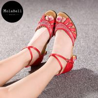Red Color Set With Diamonds High Heel Dancing Shoes For Women Fashion Styles Ballroom Shoes Girls