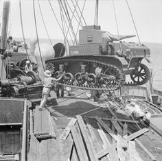 BRITISH ARMY NORTH AFRICA (E 4312)   A Stuart tank being unloaded from a ship at an Egyptian port, 19 July 1941.