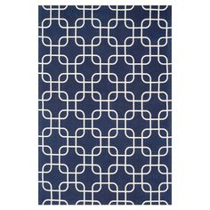 Bringvisual appeal to your den or define areas in the living room with this lovely cotton rug, showcasing a geometric motif in navy and ivory.