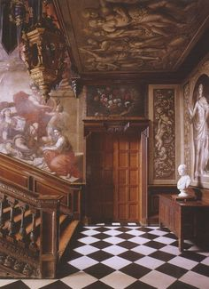 an impressive entrance (Entrance Hall at Powis Castle Garden) Welsh Castles, Palace Interior, English Decor, French Colonial, Grand Staircase, Entrance Hall, Photo Archive, Beautiful Interiors, Stairways