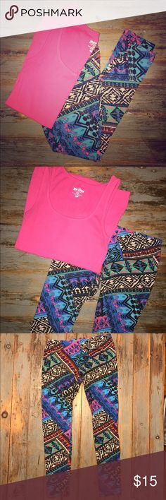Bright & Comfy Tribal Leggings Super fun tribal leggings!! Bright blue, teal, pink and green! Medium Leggings - Eye Candy - Worn only a couple times! Eye Candy Pants Leggings
