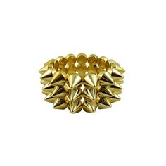 CyberloxShop Metallic Gold Cyber Spike Bracelet Spiked Studded Rock... (21 BRL) ❤ liked on Polyvore featuring jewelry, bracelets, gothic jewellery, gothic jewelry, spike bangle, goth jewelry and spikes jewelry