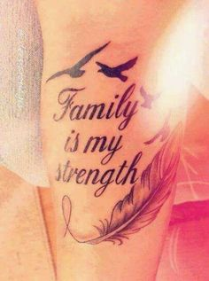 What does strength tattoo mean? We have strength tattoo ideas, designs, symbolism and we explain the meaning behind the tattoo. Best Tattoos For Women, Tattoo Designs For Women, Trendy Tattoos, Small Tattoos, Tattoos For Guys, Family Tattoos For Girls, Family Tattoo Quotes, Family Tattoo Designs, Cool Tatoos For Women