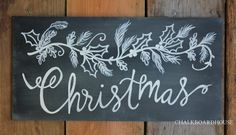 Hand Painted Chalkboard Christmas Holly Sprig Sign - 10x20 Unframed Chalkboard Art. $45.00, via Etsy.