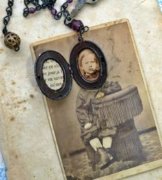 Antique Photo and Altered Locket and Handmade Rosary Style