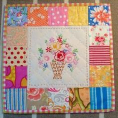 This little quilt is made using a vintage linen. From Dee's Doodles: http://thequiltingdee.blogspot.ca/2014/01/stop-and-start.html