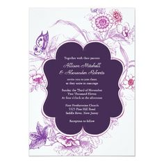 Elegant Purple Butterfly Wedding Invitation Butterfly Wedding Invitations, Wedding Invitation Size, Beautiful Wedding Invitations, Elegant Wedding Invitations, Wedding Invitation Templates, Custom Invitations, Invitations Online, Invites, Purple Butterfly