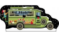 "Elves have to eat, too! And it didn't take long for an enterprising elf to start a food truck service at the North Pole!  This 3/4"" thick wood Cat's Meow is designed and hand-screened on the front with wording on the back. Add this piece to your other North Pole Cat's Meows, or start your new collection today. These set neatly on a shelf or perch them in a row on your wainscoting or trim above your windows or doors!"