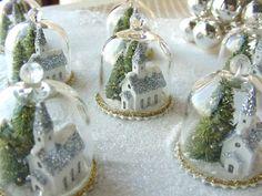 Winter glitter scene, glass bell jars by Phil Grenyer