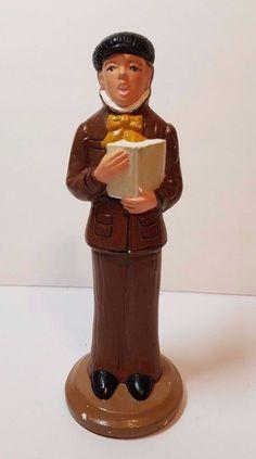 "VTG Xmas Ceramic Atlantic Mold Holiday Caroler Figurine 10"" Man Book Display 60s"