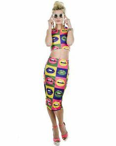 Pucker Up Crop Top And Skirt Set