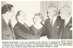 Walt Disney, Ellis Arnall, Mary Pickford, Samuel Goldwyn, Walter Wanger (Motion Picture Herald, 1948-12-18)