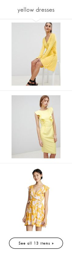 """""""yellow dresses"""" by cynthiadasmir2 ❤ liked on Polyvore featuring dresses, yellow, holiday party dresses, v-neck skater dresses, v-neck dresses, v neck jersey dress, going out dresses, slimming dresses, paper dolls dresses and ruffle dress"""