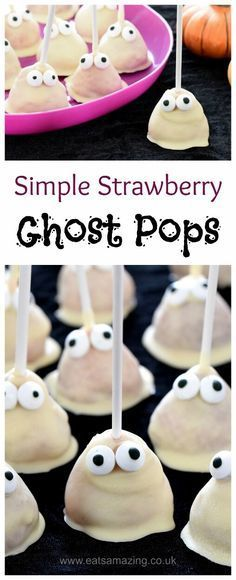 Strawberry Ghost Pops - an easy Halloween party food idea that kids will love - Eats Amazing UK halloween snacks recipes Halloween Desserts, Halloween Food For Party, Halloween For Kids, Easy Halloween Treats, Halloween Crafts, Halloween Potluck Ideas, Healthy Halloween Treats, Halloween Foods, Halloween Cupcakes