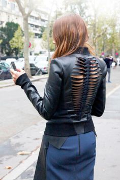 Chic slashed leather in Paris #leatherjacket