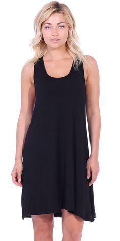 037a36e2749d Tank Dress For Women - Casual Loose Fit T-Shirt Summer Beach Sundress -  Made In USA - Black - CS12LLO95N3