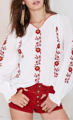 Love this hannah embroidered peasant blouse!  I would wear it with jeans!