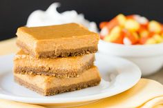 Maple Pumpkin Cheesecake Bars - A maple pumpkin cheesecake filling sits atop a gingersnap crust, for a fantastic fall dessert that you can eat with your hands! Fall Desserts, Just Desserts, Delicious Desserts, Dessert Recipes, Yummy Food, Tasty, Yummy Eats, Sweet Desserts, Cookie Recipes