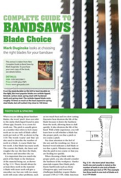Complete Guide to Band Saws Blade Choice - Band Saw Tips, Jigs and Fixtures Woodworking Bandsaw, Woodworking Guide, Woodworking Projects, Bandsaw Projects, Band Saws, Band Saw Blade, Jig Saw Blades, Wood Tools, How To Plan