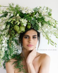 Flowers by julia Rose - white singpaoreorchid - creative headpiece - fresh