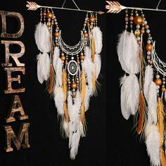 Dreamcatcher white dream catcher Arrow Copper Moon wedding... via Polyvore featuring home и home decor
