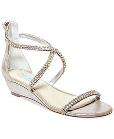 Blue By Betsey Johnson Tiara Demi Wedge Evening Sandals