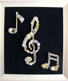 Stunningly Beautiful!   Vintage Jewelry Music Trio Collage Sculpture by ArtCreationsByCJ, $200.00