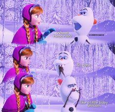 """""""It's like a baby unicorn"""" - Olaf lol Olaf Frozen, Disney Frozen, Disney Pixar, Walt Disney, Frozen 2013, Frozen Film, Frozen Heart, Disney Characters, Best Disney Movies"""