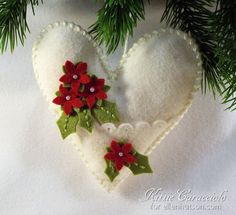 Plush Poinsettia Heart Ornament by Kittie Caracciolo