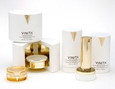 Beautiful Vinita gold and white #luxury #packaging #design: Cosmetics Design, Graphic