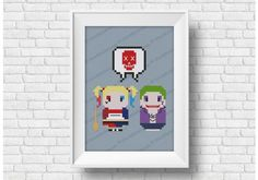 Suicide Squad - Harley Quinn and Joker - Mini People in LoveCould we miss this two bad guys in our Mini People in Love series? This cross stitch pattern features Harley Quinn and Joker from Suicide squad and their own way of love! Nightwing, Batgirl, Cross Stitch Embroidery, Cross Stitch Patterns, Cover Pages, Love People, Harley Quinn, Joker, Symbols