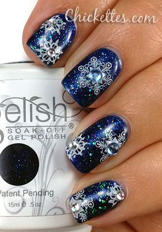 Snowflake bling nail art Where did you find the snowflakes. I so need them.