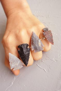 Arrowhead Ring Tribal Native Flint Stone Adjustable Ring All Colors Customizable
