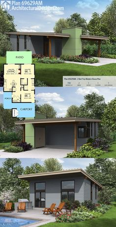 Architectural Designs Tiny Modern House Plan 69629AM gives you 2 vaulted bedrooms and 780 square feet of heated living. Ready when you are. Where do YOU want to build?