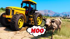 Fun Party Spiderman Farmer Tractor With Cow for Kids Nursery Rhymes Song...